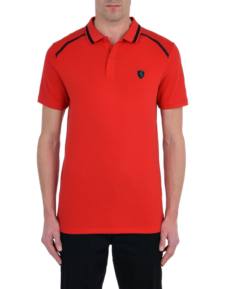 Scuderia Ferrari Online Store - Short-sleeve cotton polo shirt with rubberised print -