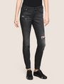 ARMANI EXCHANGE SUPER-SKINNY CONTRAST REPAIR JEANS Skinny jeans Woman f