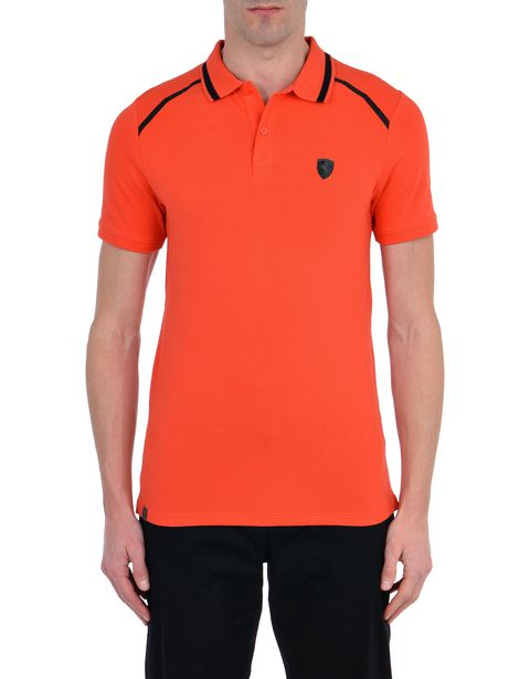 Short-sleeve cotton polo shirt with rubberized print