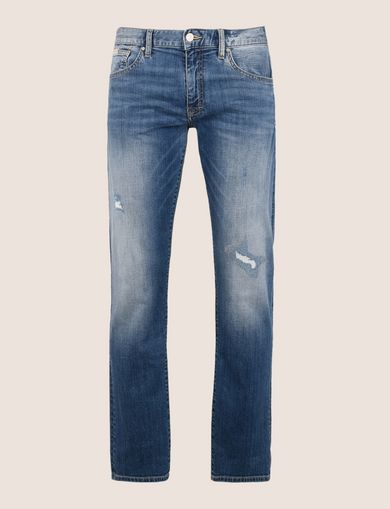 DESTROYED AND REPAIRED MID-INDIGO STRAIGHT JEANS
