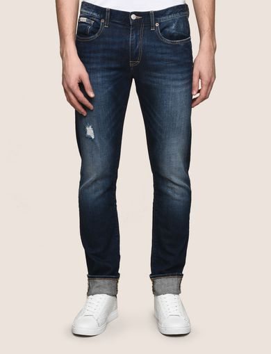 DESTROYED DARK INDIGO SLIM-FIT JEANS