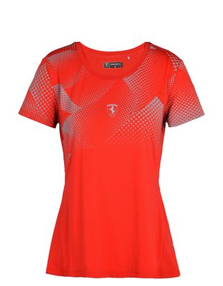 Scuderia Ferrari Online Store - Women's athletic T-shirt in reflective technical fabric - Short Sleeve T-Shirts