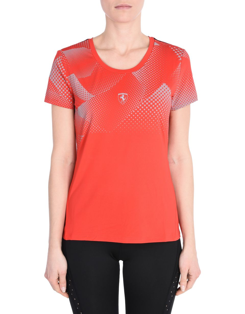 Scuderia Ferrari Online Store - Women's sports T-shirt in reflective technical fabric - Short Sleeve T-Shirts