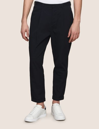 PLEAT-FRONT SEERSUCKER PANTS