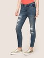 ARMANI EXCHANGE RIPPED & REPAIRED CROPPED SKINNY JEANS Skinny jeans Woman f