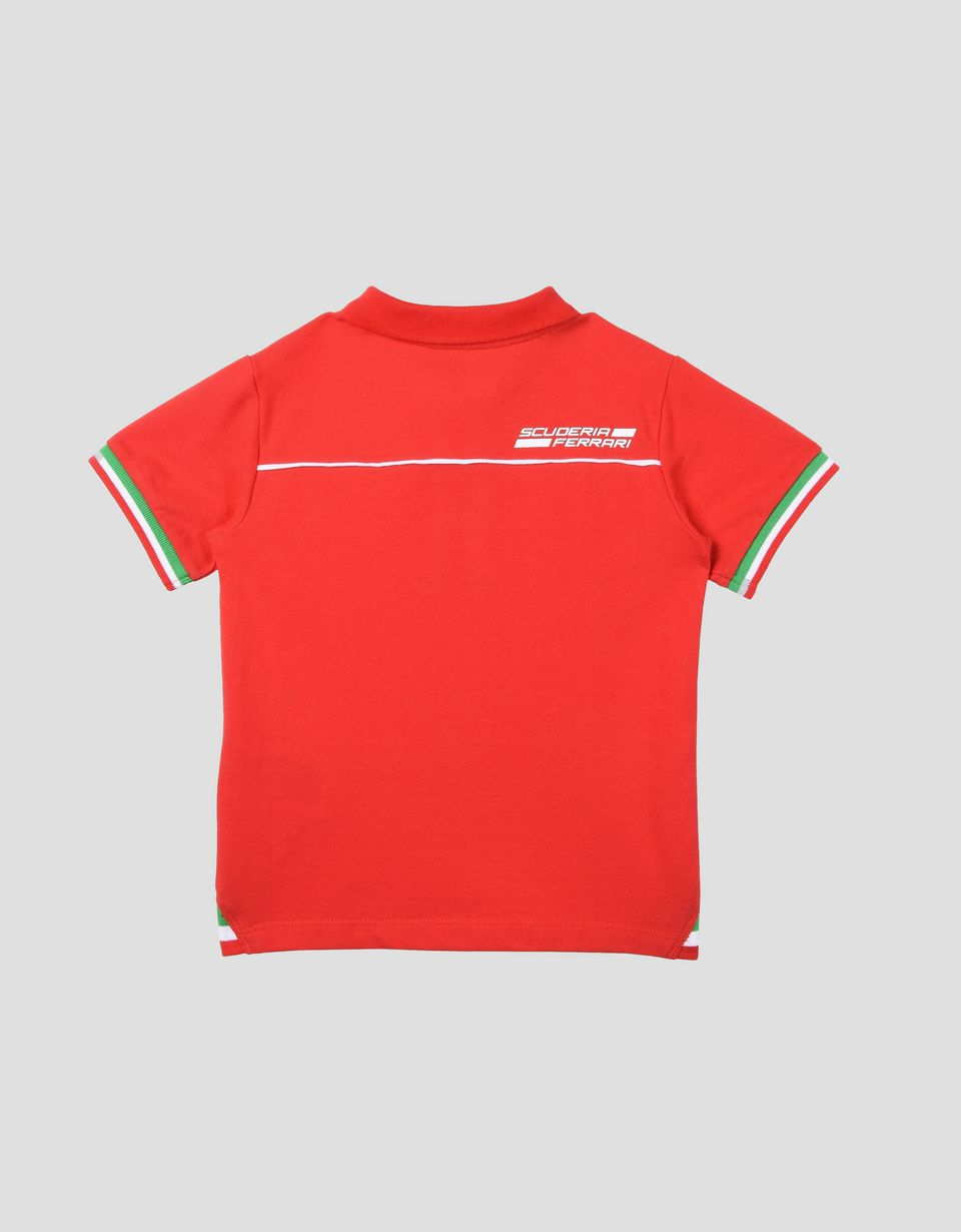 Scuderia Ferrari Online Store - Polo shirt for teens with Italian flag - Short Sleeve Polos