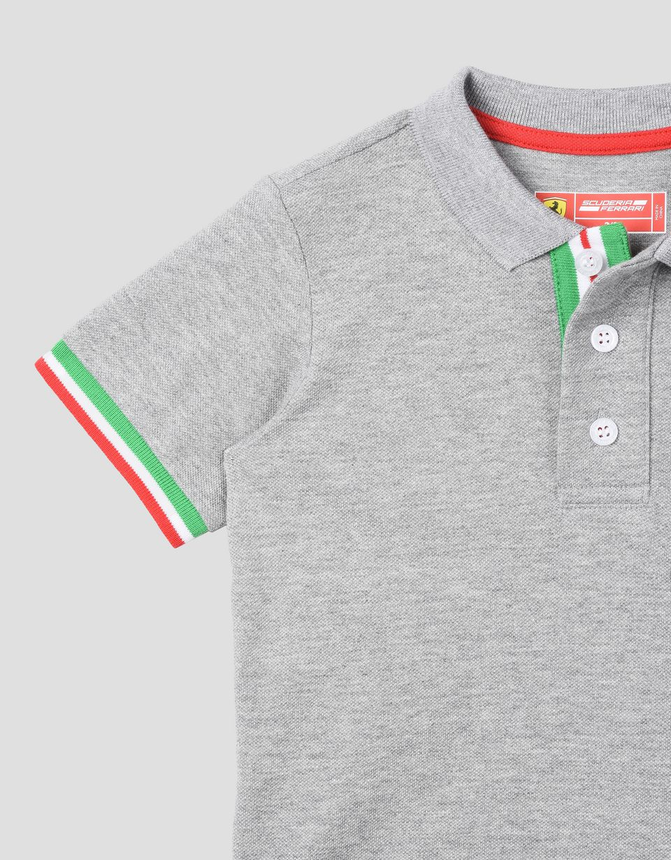 Scuderia Ferrari Online Store - Kids polo shirt with tricolour flag - Short Sleeve Polos