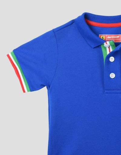 Scuderia Ferrari Online Store - Kids polo shirt with tricolour flag - Short Sleeve Polos