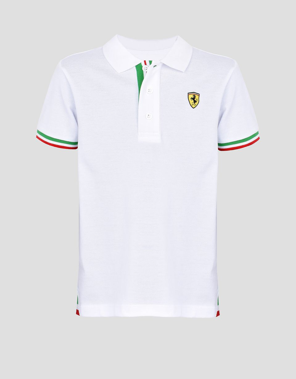 ff1a4c8b ... Scuderia Ferrari Online Store - Polo shirt for teens with Italian flag  - Short Sleeve Polos ...