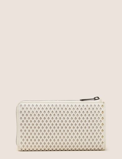 DIAMOND PERFORATED HALF-ZIP WALLET