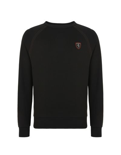 Scuderia Ferrari Online Store - Men's cotton sweatshirt with tricot details - Crew Neck Sweaters