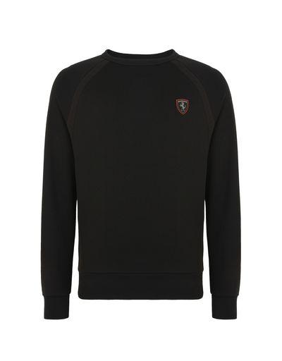 Scuderia Ferrari Online Store - Men's cotton sweatshirt with tricot details - Crew Neck Sweaters