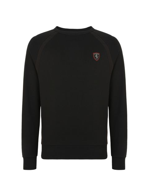 Scuderia Ferrari Online Store - Men's cotton sweatshirt with tricot details - Crew Neck Jumpers