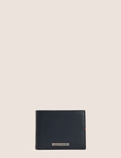 CONTRAST STITCH TRIFOLD LOGO WALLET