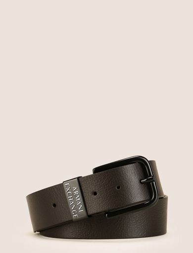BLACK COATED TEXTURED LEATHER BELT