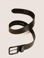 ARMANI EXCHANGE BLACK COATED TEXTURED LEATHER BELT Belt Man r