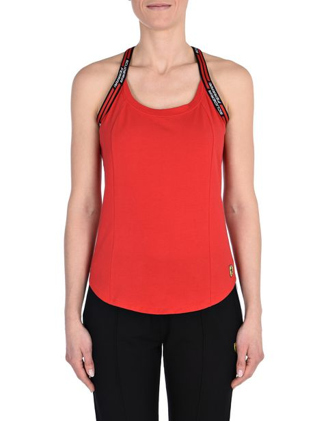 Red sports tank top with Scuderia Ferrari detail