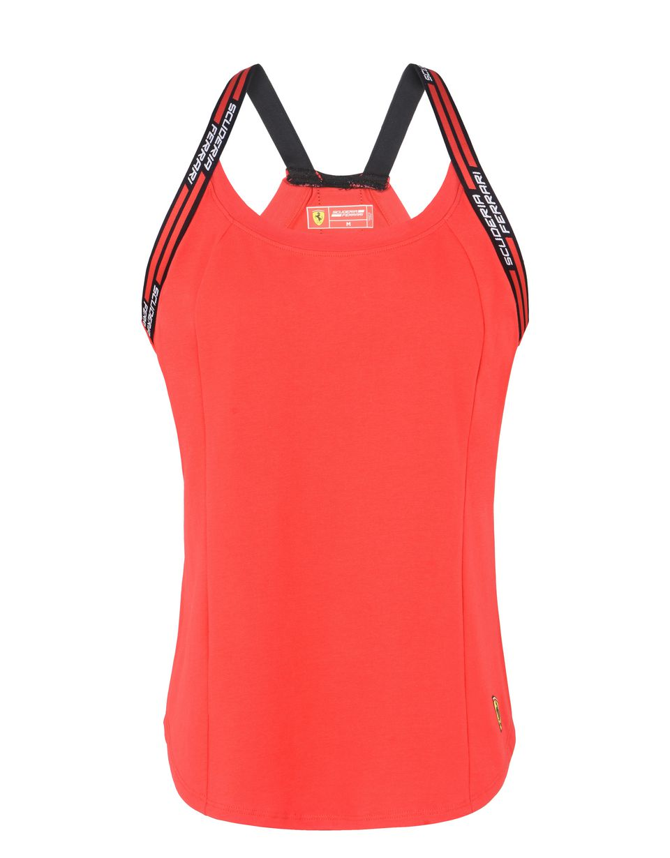 Scuderia Ferrari Online Store - Red sports tank top with Scuderia Ferrari detail - Tank Tops