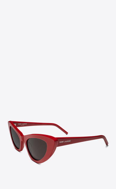 SAINT LAURENT NEW WAVE Woman NEW WAVE 213 LILY sunglasses in red acetate and gray lenses b_V4