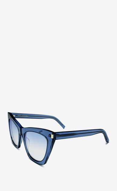 SAINT LAURENT NEW WAVE Woman NEW WAVE 214 KATE sunglasses in clear blue acetate and blue lenses b_V4