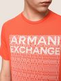 ARMANI EXCHANGE ALLOVER TICKER LOGO CREW Logo T-shirt Man b
