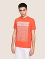 ARMANI EXCHANGE ALLOVER TICKER LOGO CREW Logo T-shirt Man f