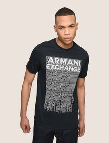 ARMANI EXCHANGE ALLOVER TICKER LOGO CREW Logo T-shirt Man a