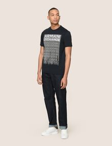 ARMANI EXCHANGE ALLOVER TICKER LOGO CREW Logo T-shirt Man d