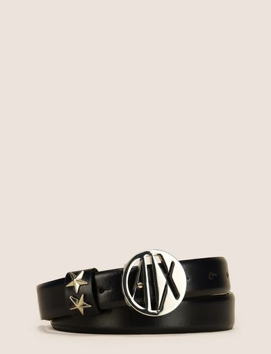 MADE IN ITALY STAR-STUDDED LOGO BELT