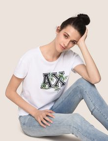 ARMANI EXCHANGE EMBROIDERED BOTANICAL LOGO TEE Logo T-shirt Woman a