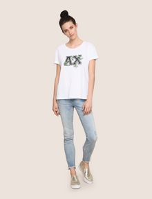 ARMANI EXCHANGE EMBROIDERED BOTANICAL LOGO TEE Logo T-shirt Woman d