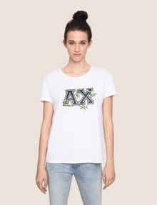 ARMANI EXCHANGE EMBROIDERED BOTANICAL LOGO TEE Logo T-shirt Woman f