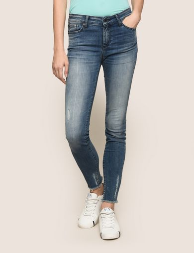 RAW HEM POWER-STRETCH SUPER-SKINNY JEANS