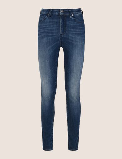 HIGH-RISE INDIGO SUPER-SKINNY STRETCH JEANS