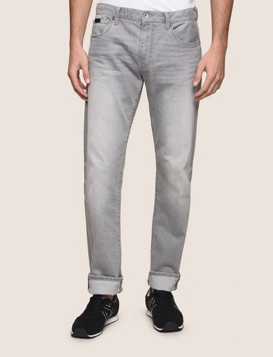 STRAIGHT-LEG FADED GREY JEANS