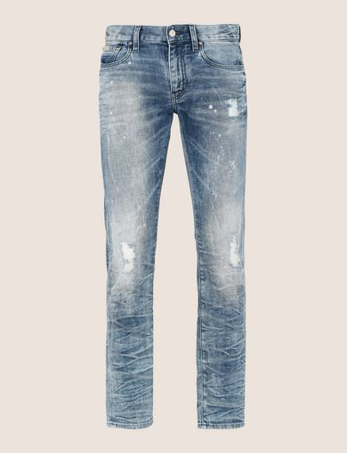 SLIM-FIT BLEACHED DISTRESSED JEANS