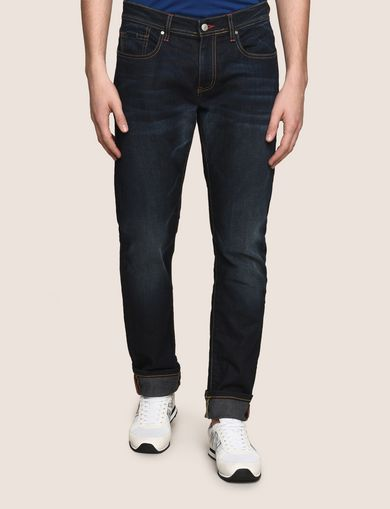 SLIM-FIT CONTRAST STITCH INDIGO JEANS