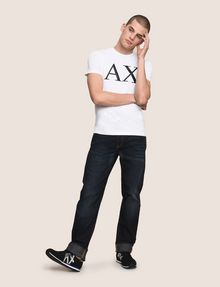 ARMANI EXCHANGE STRAIGHT-LEG CONTRAST STITCH JEANS STRAIGHT FIT JEANS [*** pickupInStoreShippingNotGuaranteed_info ***] d