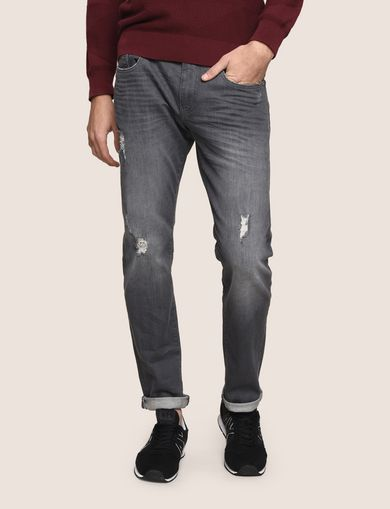 SLIM-FIT DESTROYED GREY JEANS