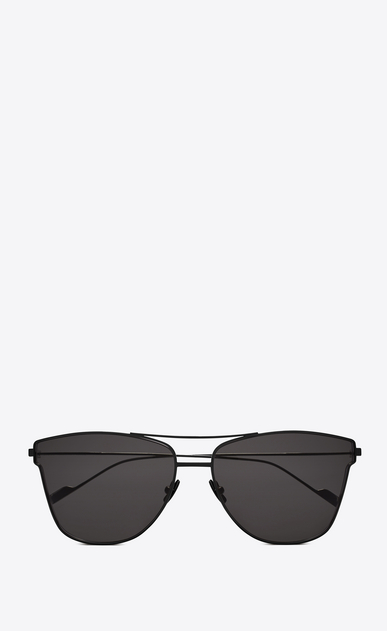 SAINT LAURENT CLASSIC E classic 51 t sunglasses in matte black metal with gray lenses a_V4