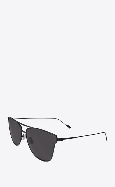 SAINT LAURENT CLASSIC E classic 51 t sunglasses in matte black metal with gray lenses b_V4