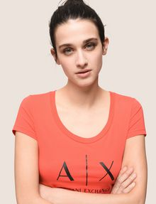 ARMANI EXCHANGE CLASSIC LOGO SCOOPNECK Logo T-shirt Woman a