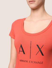 ARMANI EXCHANGE CLASSIC LOGO SCOOPNECK Logo T-shirt Woman b