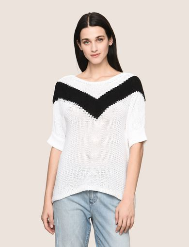 OPEN-KNIT CHEVRON SWEATER TOP