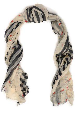 BRUNELLO CUCINELLI Frayed printed cashmere scarf