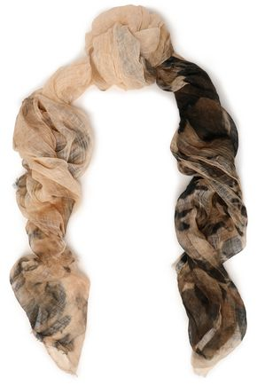 BRUNELLO CUCINELLI Printed linen-gauze scarf