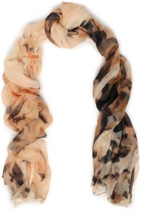 BRUNELLO CUCINELLI Frayed printed cashmere-gauze scarf