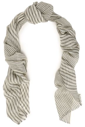 BRUNELLO CUCINELLI Frayed metallic striped cashmere-blend scarf