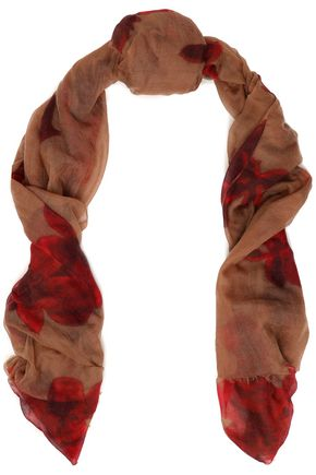 BRUNELLO CUCINELLI Frayed floral-print cashmere-gauze scarf