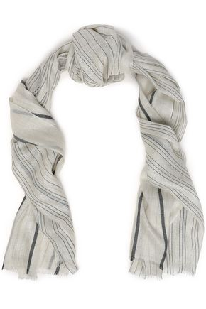 BRUNELLO CUCINELLI Frayed metallic striped cashmere-blend gauze scarf